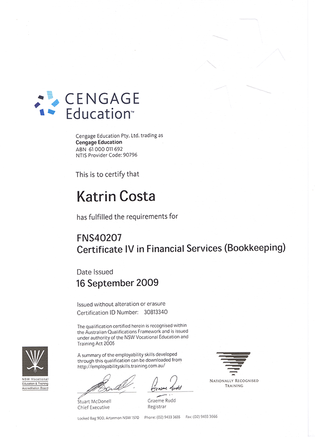 Certificate IV---Financial Services